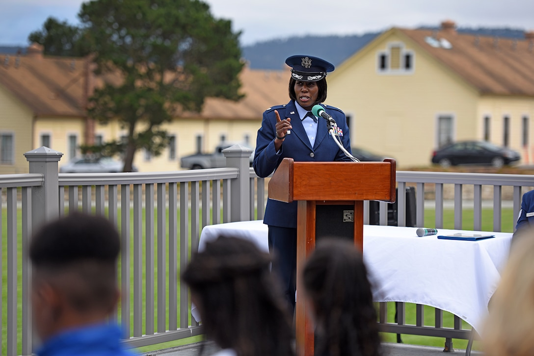 U.S. Air Force Lt. Col. Nicci Rucker, 311th Training Squadron incoming commander, gives her first remarks to the squadron during the change of command on Soldier Field at the Presidio of Monterey, California, July 8, 2019.  The 311th TRS conducts basic language skills and advanced foreign language training at the Defense Language Institute prior to students arriving to Goodfellow Air Force Base, Texas, for follow-on cryptologic linguist training. (Courtesy Photo)