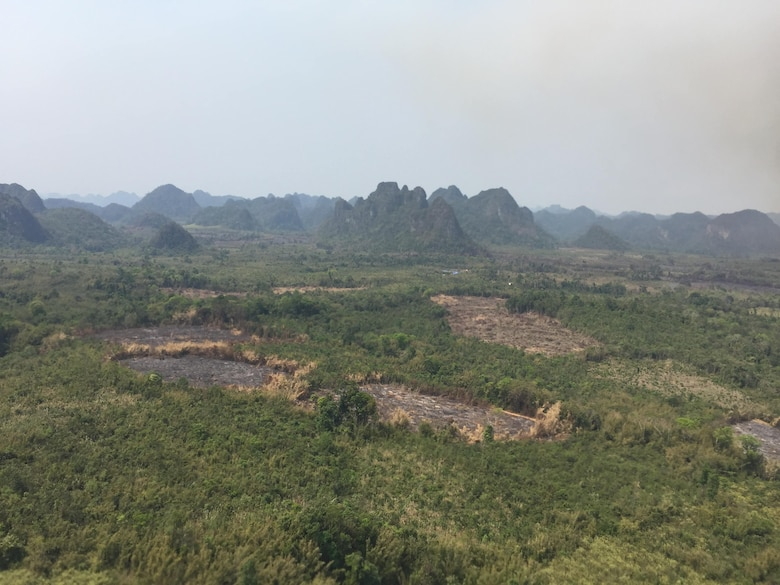 The main base camp for Recovery Team One rests in a field March 12, 2019, in the country of Lao People's Democratic Republic. The Defense Prisoner of War/Missing in Action Accounting Agency deploys agency teams to countries throughout Asia, the Pacific, Europe and to the United States to recover fallen or missing service members. (Courtesy Photo)
