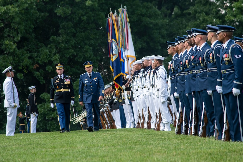 Marine Corps Gen. Joe Dunford, chairman of the Joint Chiefs of Staff, hosts an Armed Forces Full Honor Arrival Ceremony for Finnish Army Gen. Jarmo Lindberg, Finnish Chief of Defense, on Whipple Field at Joint Base Myer-Henderson Hall, July 9, 2019.