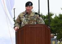 "Gen. Robert B. ""Abe"" Abrams, U.S. Forces Korea, United Nations Command, and Combined Forces Command, commanding general, participated in the ROK-U.S. Alliance sculpture unveiling during a ceremony July 10 at the United States Forces Korea Headquarters building, Camp Humphreys, Republic of Korea."