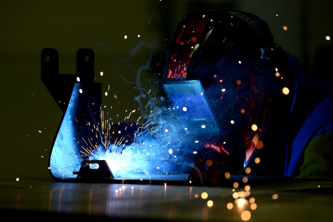 U.S. Air Force Airman Basic Jeffery Jenkins, aircraft metals technology technician from the 31st Maintenance Squadron, welds the MJ-1 STEP, July 1, 2019 at Aviano Air Base, Italy. The 31st MXS provides accessory maintenance, avionics, periodic phase inspections, fabrication, and aerospace ground equipment, for 50 assigned F-16C/D aircraft.  (U.S. Air Force photo by Airman 1st Class Ericka A. Woolever)