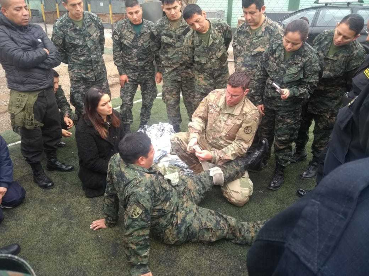 Sgt. Brad Miller, a medical readiness non-commissioned officer with the West Virginia Army National Guard (WVARNG) medical detachment, provides training on tactical casualty combat care (TCCC) to members of the Peruvian Armed Forces during a hands-on training held July 2, 2019, in Lima, Peru.