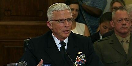 Screenshot of broadcast of Navy Adm. Craig S. Faller testimony.