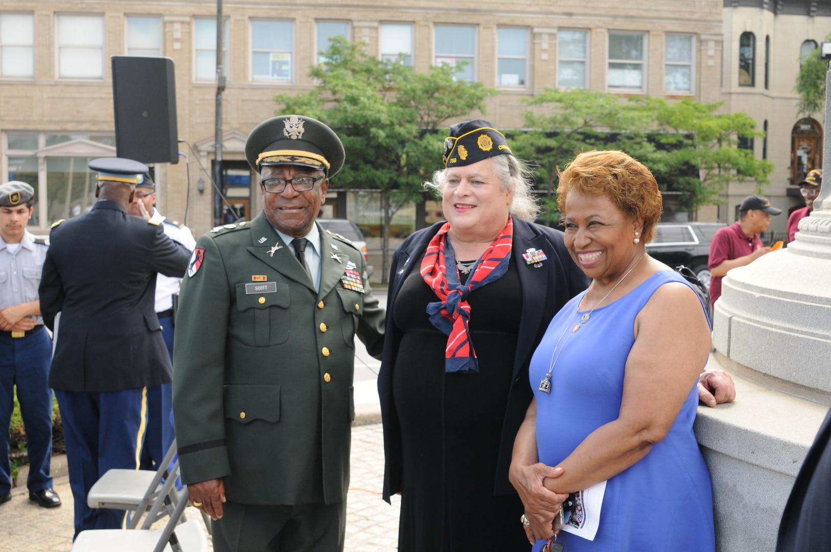 Col. (ret.) Eugene F. Scott, Lt. Col. (ret.) Jennifer Pritzker, and former Ambassador and U.S. Senator Carol Moseley-Braun