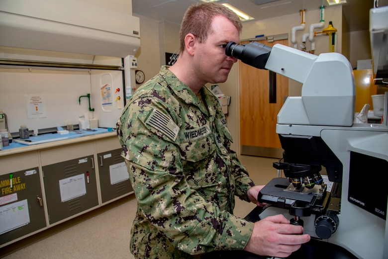 U.S. Navy Petty Officer 2nd Class Tyler Wiedmeyer, Armed Forces Medical Examiner System histotechnichian, looks at slides of tissues under a microscope before handing them off to a medical examiner June 6, 2019. The stained tissues help medical examiners see down to the cellular level for a  diagnosis of cause of death. (U.S. Air Force photo by Staff Sgt. Nicole Leidholm)
