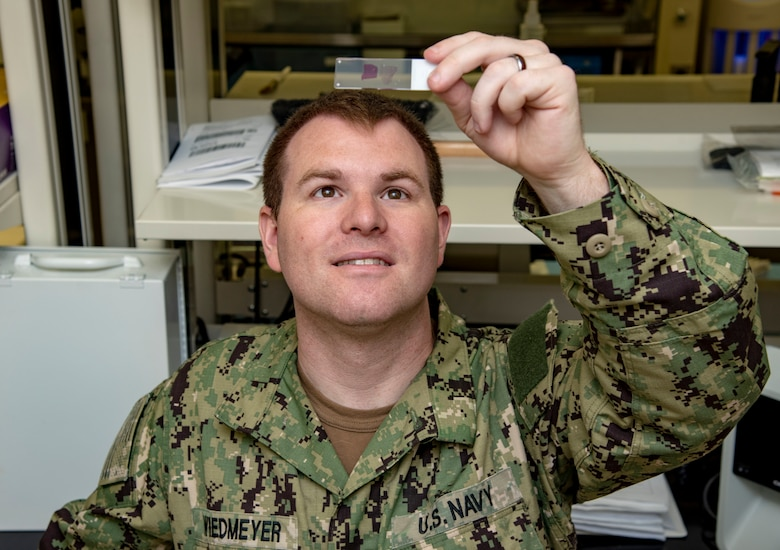U.S. Navy Petty Officer 2nd Class Tyler Wiedmeyer, Armed Forces Medical Examiner System histotechnichian, looks at a slide of tissue before handing them off to a medical examiner June 6, 2019. The stained tissues help medical examiners see down to the cellular level for a diagnosis of cause of death. (U.S. Air Force photo by Staff Sgt. Nicole Leidholm)