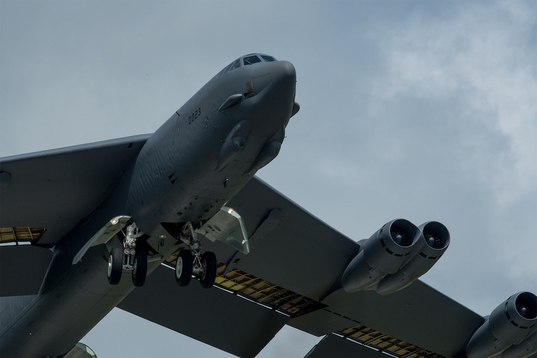 A B-52H Stratofortress takes off from Minot Air Force Base, North Dakota, July 7, 2019.