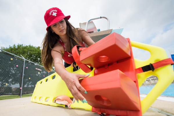 Silvia Garcia, 502nd Force Support Squadron lifeguard, does her morning checks before opening the Warhawk pool, June 21, 2019, at Joint Base San Antonio-Lackland, Texas.