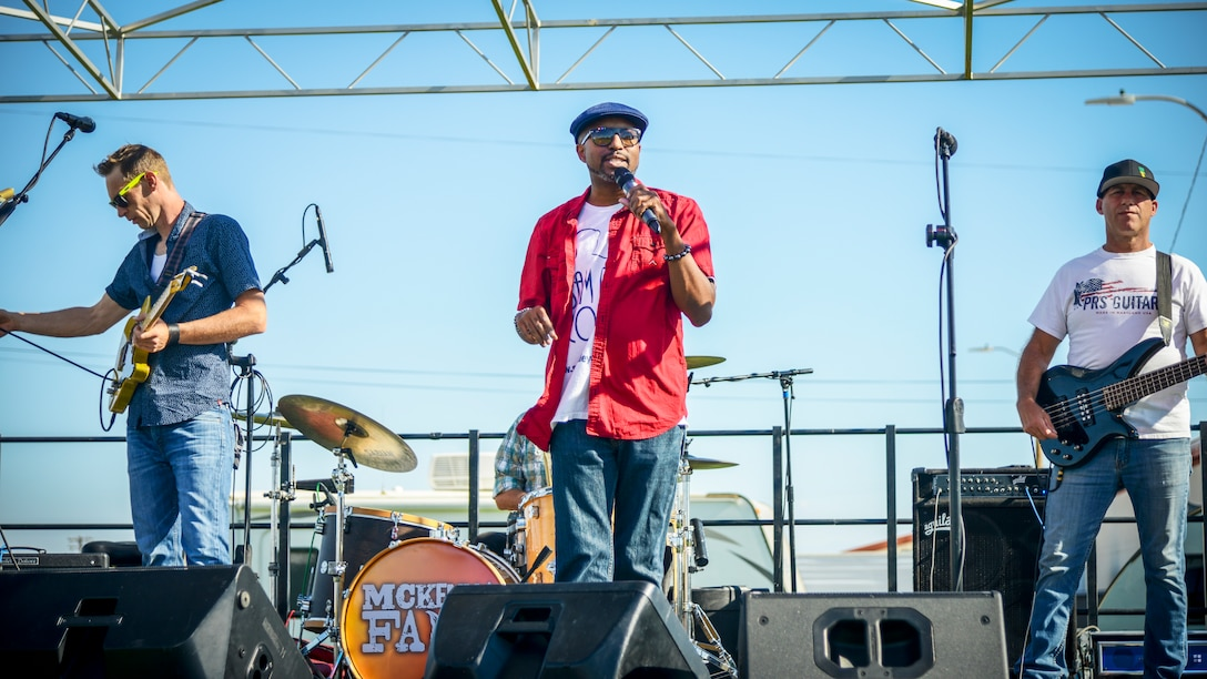 Comedian Sam Ridley emcees Summer Bash 2019, an Independence Day celebration, at Edwards Air Force Base, California. The event featured rides, games, live music and fireworks. (U.S. Air Force photo by Giancarlo Casem)