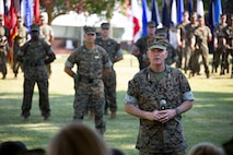 Outgoing commander of U.S. Marine Corps Forces Command (MARFORCOM) Lt. Gen. Mark A. Brilakis, gives remarks during the MARFORCOM change of command ceremony at Naval Support Activity Hampton Roads, Virginia, July 3, 2019. The change of command is a time-honored tradition where all responsibilities and authority are ceremoniously passed from one commander to another. MARFORCOM is one of three major Marine Corps commands, along with U.S. Marine Corps Forces, Pacific and U.S. Marine Corps Forces, Reserve, which generates operating forces to support Unified or Joint Task Force Commanders. (U.S. Marine Corps photo by Sgt. Jessika Braden/ Released)