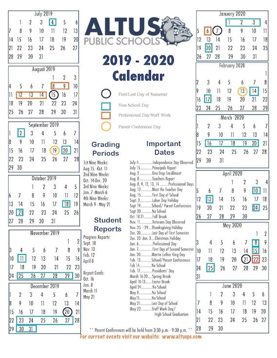 Altus Public Schools 2019-2020 Calendar
