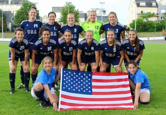 RENNES, France  (May 31, 2016) -- U.S. Armed Forces Women's Soccer Team prior to facing South Korea in the 2016 World Women's Football Cup on 31 May.  The 2016 Conseil International du Sport Militaire (CISM) World Football Cup was hosted in Rennes, France 24 May to 6 June, 2016. Then 1st Lt. Kate Herren stands fifth from left, back row. Herren is currently on the first Armed Forces Sports All-Service Women's Rugby Team. (courtesy photo)