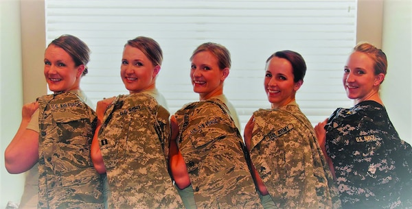 The five Puro sisters of Utah took different paths to military careers. Left to right: Tiara, Air Force; Tambra, Army Guard, Tayva, Air Guard; Ty'lene, Army Guard; Taryn, Navy.