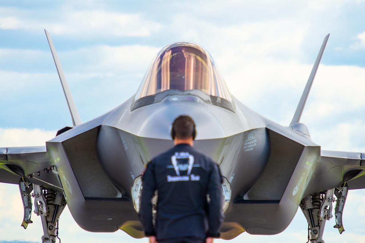 Alt Text: F-35 prepares to launch.