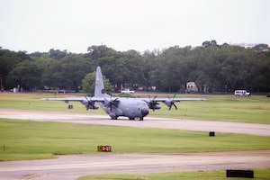 A WC-130J Super Hercules from the 53rd Weather Reconnaissance Squadron, aka Hurricane Hunters, begins to takeoff July 10, 2019 at Keesler Air Force Base, Mississippi. Tail number 75303 took off midday for an investigative flight into a tropical depression over the Gulf of Mexico. (Courtesy photo)