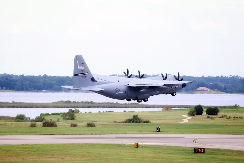 A WC-130J Super Hercules from the 53rd Weather Reconnaissance Squadron, aka Hurricane Hunters, takes off July 10, 2019 from Keesler Air Force Base, Mississippi. Tail number 75303 took off midday for an investigative flight into a tropical depression over the Gulf of Mexico. (Courtesy photo)