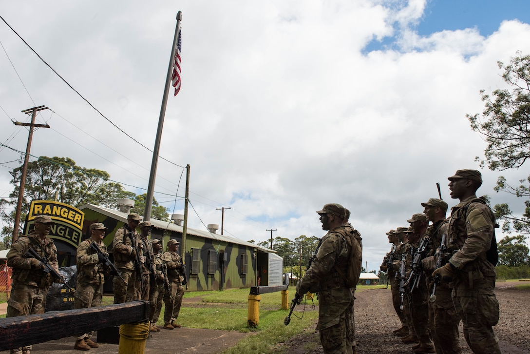 Airmen recite the Ranger Creed during their time going through the Ranger Assessment Course near Schofield Barracks, Oahu, Hawaii, May 18, 2019. The Airmen who pass the RAC gain more than a ticket into Ranger School and knowledge on Army tactics – they learn to lead. Throughout the course, Airmen were tested on their ability to perform land navigation, ambush, react to contact and squad attacks. Along with those assessments, the students went on runs and marches of different distances – all leading up to a 12-mile ruck march two days before graduation. (U.S. Air Force photo by Staff Sgt. Hailey Haux)