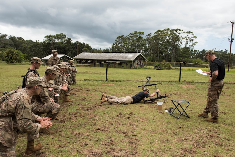 Ranger Assessment Course students learn the steps to un-jamming a weapon during training near Schofield Barracks, Oahu, Hawaii, May 20, 2019. The Airmen who pass the RAC gain more than a ticket into Ranger School and knowledge on Army tactics – they learn to lead. Throughout the course, Airmen were tested on their ability to perform land navigation, ambush, react to contact and squad attacks. Along with those assessments, the students went on runs and marches of different distances – all leading up to a 12-mile ruck march two days before graduation. (U.S. Air Force photo by Staff Sgt. Hailey Haux)