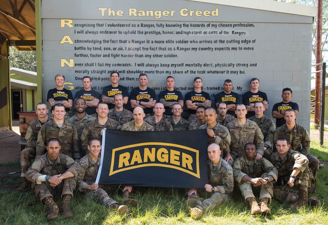 Ranger Assessment Course students and cadre pose for a group photo at the end of the 19-day course near Schofield Barracks, Oahu, Hawaii, May 29, 2019. The purpose of the three-week course is to prepare, assess and evaluate Air Force candidates for Army Ranger School. Of the 23 Airmen who began the Ranger Assessment Course, three dropped for personal motivational reasons and one dropped for medical reasons, leaving 19 standing at the end. Out of the 19, 11 Airmen met all the standards needed for a recommendation to go forward to Ranger School. (U.S. Air Force photo by Staff Sgt. Hailey Haux)