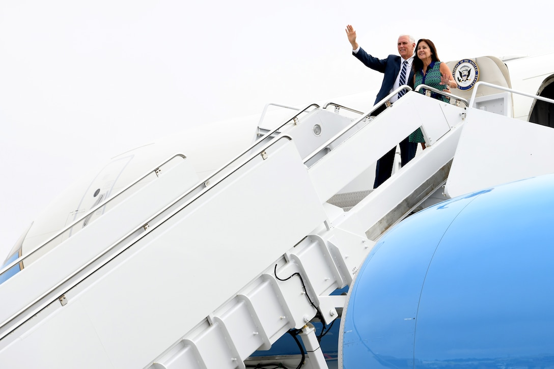 Vice President Michael R. Pence and Mrs. Karen Pence arrive in Air Force Two on the flightline July 10, 2019, at Vandenberg Air Force Base, Calif.