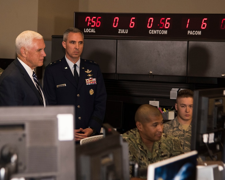 Vice President Mike Pence tours the Combined Space Operations Center July 10, 2019, at Vandenberg Air Force Base, Calif. While at the CSpOC, Pence met with base leadership and received briefings on the evolution of launch operations at the Western Range and CSpOC operations, which concluded with an all-call to the service men and women of Vandenberg AFB. (U.S. Air Force photo by Airman 1st Class Hanah Abercrombie)