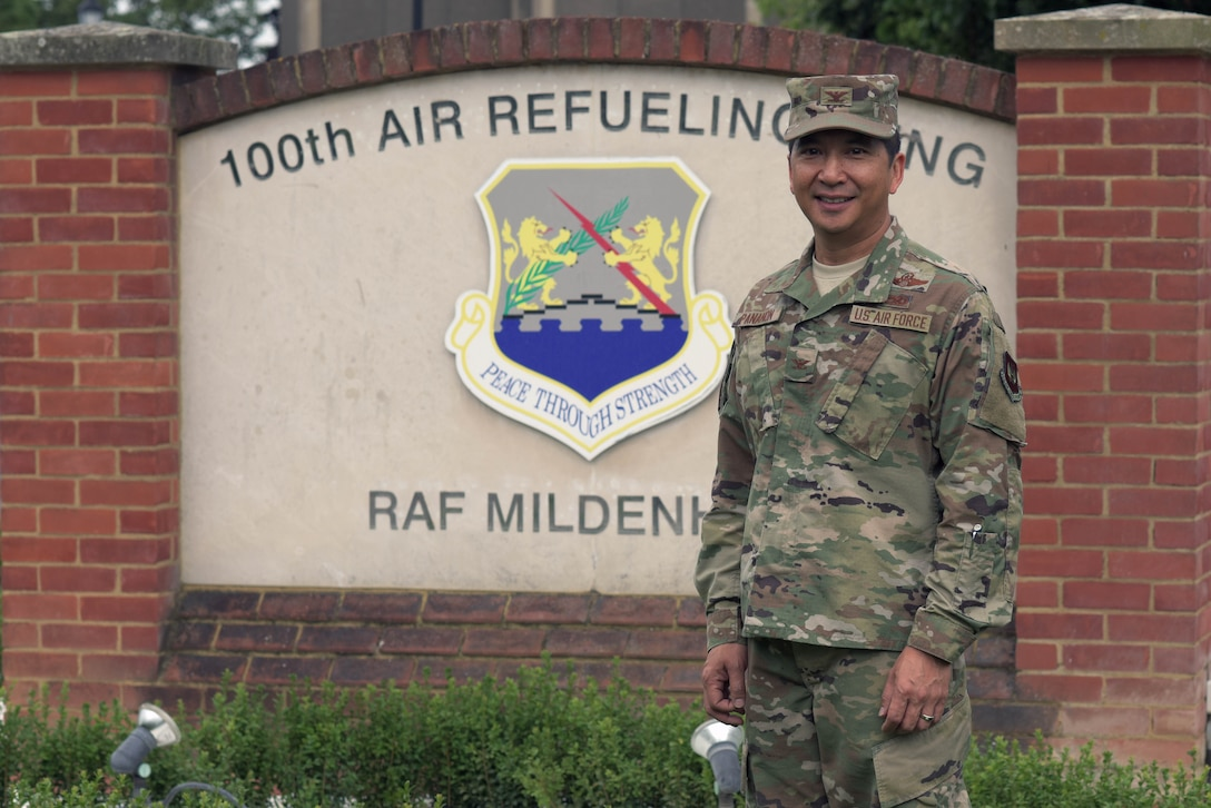 U.S. Air Force Col. Troy Pananon, 100th Air Refueling Wing commander, poses for a photo at RAF Mildenhall, England, July 9, 2019. Pananon served five years as an enlisted Marine prior to receiving his commission from Embry-Riddle Aeronautical University, Daytona Beach, Fla., in 1996. He was initially assigned as a maintenance officer at Hurlburt Field, Fla., and then attended Undergraduate Pilot Training at Columbus Air Force Base, Miss. (U.S. Air Force photo by Senior Airman Benjamin Cooper)
