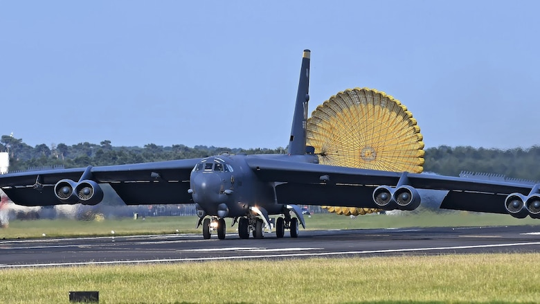 A B-52H Stratofortress from Minot Air Force Base, North Dakota, lands at RAF Mildenhall, England, after experiencing an in-flight emergency June 17, 2019. The B-52H was operating in the European theater supporting several exercises while in the region. (Courtesy photo)