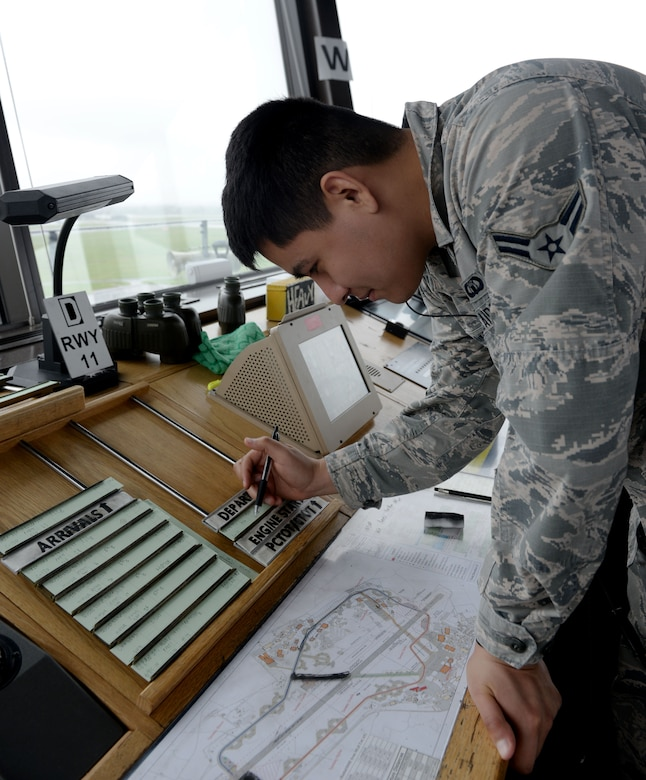 U.S. Air Force Airman 1st Class Luis Iniguez Ramirez, 100th Operations Support Squadron air traffic controller, checks the departure and arrival manifesto inside the air traffic control tower at RAF Mildenhall, England, April 9, 2018. The ever-watching eye of the air traffic controllers from the 100th OSS keeps our skies and aircraft safe. (U.S. Air Force photo by Airman 1st Class Alexandria Lee)
