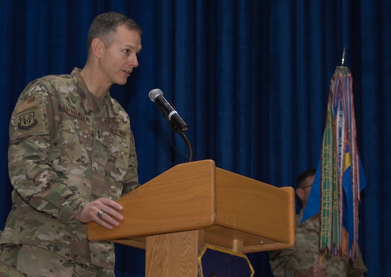 U.S. Air Force Maj. Gen. Alexus G. Grynkewich, 9th Air Expeditionary Task Force-Levant commander, provides remarks during the 386th Air Expeditionary Wing change of command ceremony at Ali Al Salem Air Base, Kuwait, July 11, 2019. U.S. Air Force Col. Rodney Simpson took command of the 386th AEW from Col.  Patrick Schlichenmeyer. Grynkewich officiated the ceremony. (U.S. Air Force photo by Tech. Sgt. Daniel Martinez)