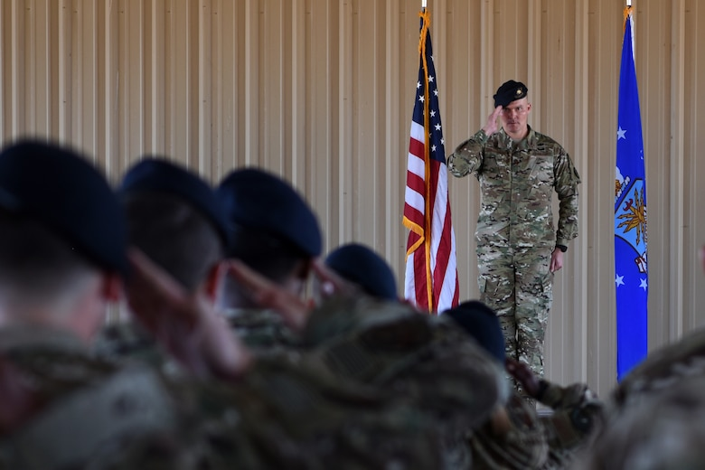 U.S. Air Force Maj. Shawn Chamberlin, 377th Weapon System Security Squadron commander, receives his first salute from Airmen of the 377th WSSS during a change of command ceremony at Kirtland Air Force Base, N.M., July 9, 2019. Chamberlin previously commanded the 377th Security Forces Squadron. (U.S. Air Force photo by Senior Airman Eli Chevalier)