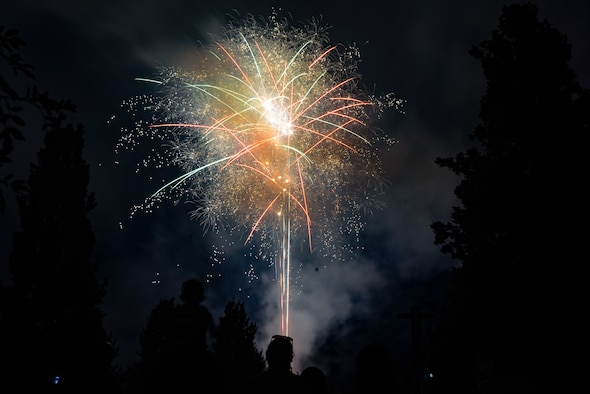 A firework explodes in a variety of colors at the end of Freedom Fest on Ramstein Air Base, Germany, July 4, 2019.
