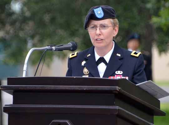 Brig. Gen. Christine Beeler addresses those in attendance for the Mission and Installation Contracting Command change-of-command ceremony July 9 at Joint Base San Antonio-Fort Sam Houston. Beeler assumed command of the MICC from Brig. Gen. Bill Boruff, who departs for his next assignment at Redstone Arsenal, Alabama. Officiating the ceremony was Maj. Gen. Paul Pardew, the commanding general for the Army Contracting Command at Redstone Arsenal, Alabama.