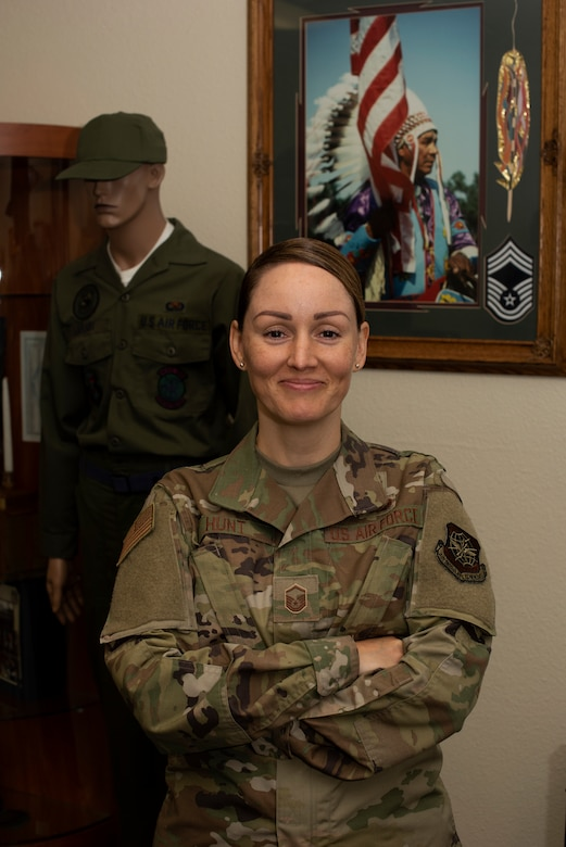 U.S. Air Force Master Sgt. Brianna Hunt, 60th Force Support Squadron Sgt. Paul P. Ramoneda Airman Leadership School commandant, stands inside the school July 8, 2019, at Travis Air Force Base, California. As the school's commandant, Hunt is responsible for the ALS curriculum, which prepares senior airmen to serve as first-line supervisors. In June 2019, she was selected as California's 4th Assembly District Veteran of the Year. (U.S. Air Force photo by Tech. Sgt. James Hodgman)