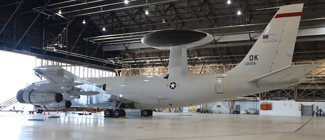 Boeing E-3G, serial # 83-0009, the last U.S. Air Force E-3 Sentry built, is the milestone 12th aircraft nearing modification completion for the Internet Protocol Enabled Communications modification program as shown June 24, 2019, Tinker Air Force Base, Oklahoma. IPEC provides advanced networking capability to the E-3 fleet to further secure their role of air dominance in contested environments. (U.S. Air Force photo/Greg L. Davis)
