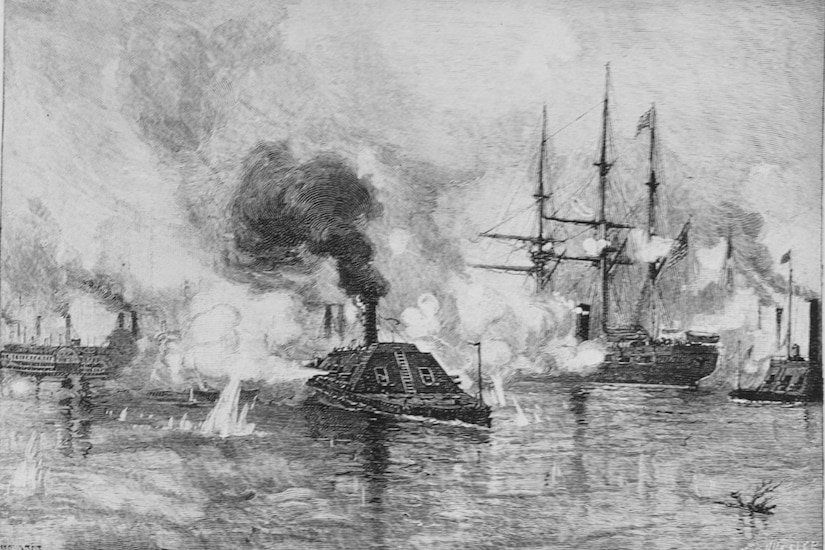 An ironclad gunboat billowing smoke or steam rams through a waterway surrounded by an enemy gunboat, a tall ship and another ship. Water is splashing up where ammo has hit he river.