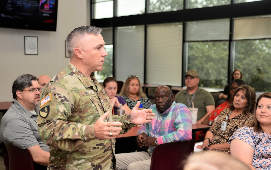 "GALVESTON, Texas (July 11, 2019) Col. Timothy R. Vail, USACE Galveston District commander, hosted his first ""Coffee with the Colonel"" monthly engagement to discuss current events and obtain feedback from the workforce."
