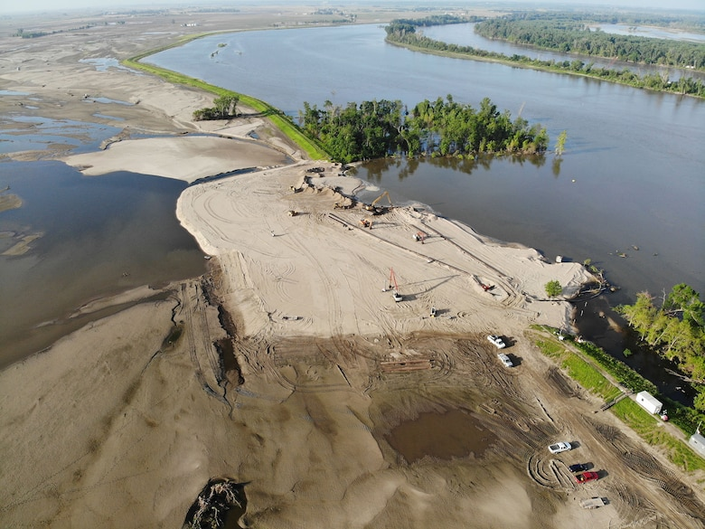 Aerial view of levee breach L575 a June 30, 2019.