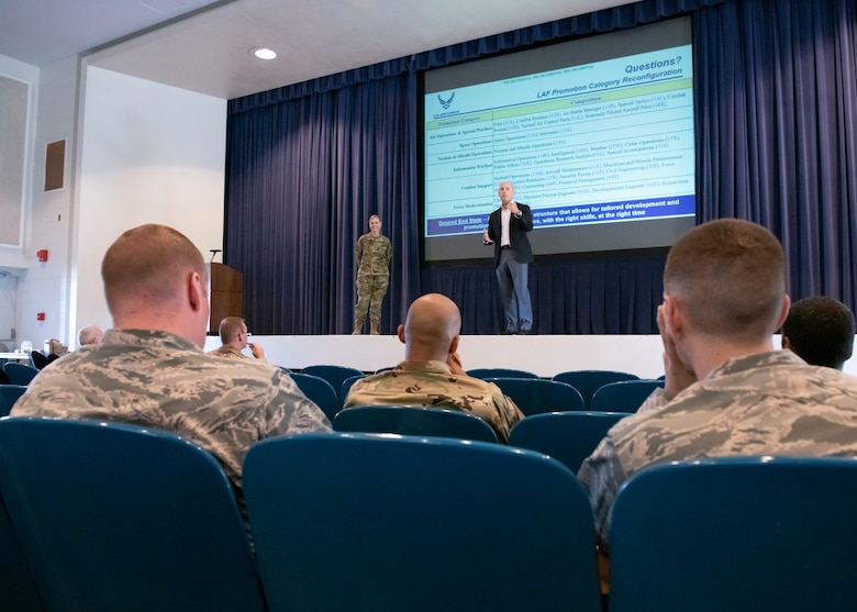 PETERSON AIR FORCE BASE, Colo. – Assistant Secretary of the Air Force for Manpower and Reserve Affairs Shon Manasco (right) and Col. Kelly Sams, senior military assistant to Manasco (left) discuss Air Force Manpower, Personnel and Services' proposed line of the Air Force promotion category reconfiguration July 9, 2019 at Peterson Air Force Base, Colorado. This proposal would divide Air Force officers in the line of the Air Force promotion category into six separate categories so they would only be competing for promotions within their group instead of against officers in more than 40 Air Force specialty codes. (U.S. Air Force photo by Heather Heiney)