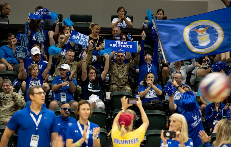Crowd members cheer on Team Air Force during a sitting volleyball competition, June 30, 2019, in Tampa, Florida. Team Air Force competed against Team Navy in the gold medal match. (U.S. Air Force photo by Staff Sgt. Sahara L. Fales)