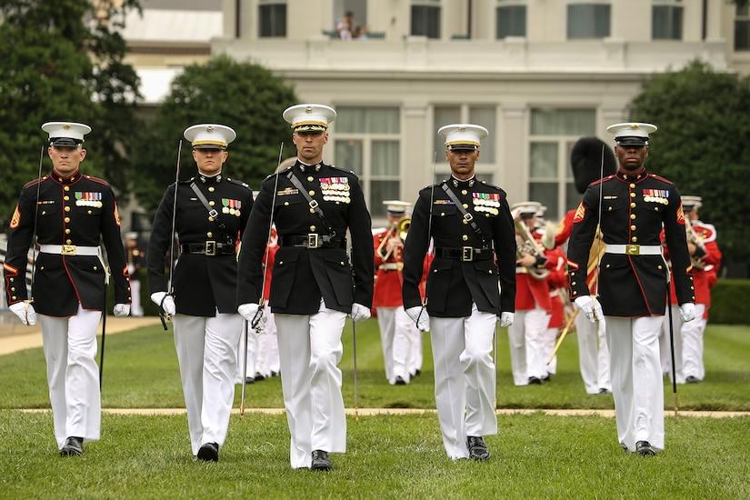 Men marching