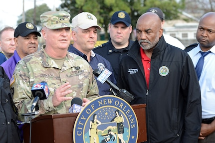 Maj. Gen. Glenn H. Curtis, adjutant general of the Louisiana National Guard, addresses the media on the support that LANG will provide to the city of New Orleans at the direction of Louisiana Governor John Bel Edwards after a tornado hit New Orleans East on Feb. 7, 2017. The LANG mobilized up to 3,000 Soldiers in advance of Tropical Storm Barry, projected to make landfall Friday or Saturday.