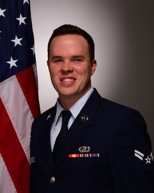 Official Photo of A1C Drew Pritchard, trumpeter with the USAF Band of Mid-America, Scott Air Force Base, Illinois.
