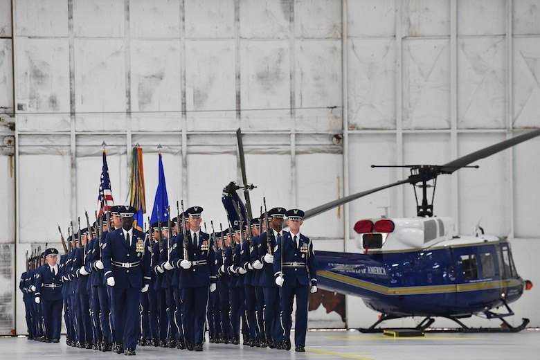 The Air Force Honor Guard marches into place during the Air Force District of Washington Change of Command Ceremony at Joint Base Andrews, Md., July 9, 2019. (Air Force Photo by Adrian Cadiz)