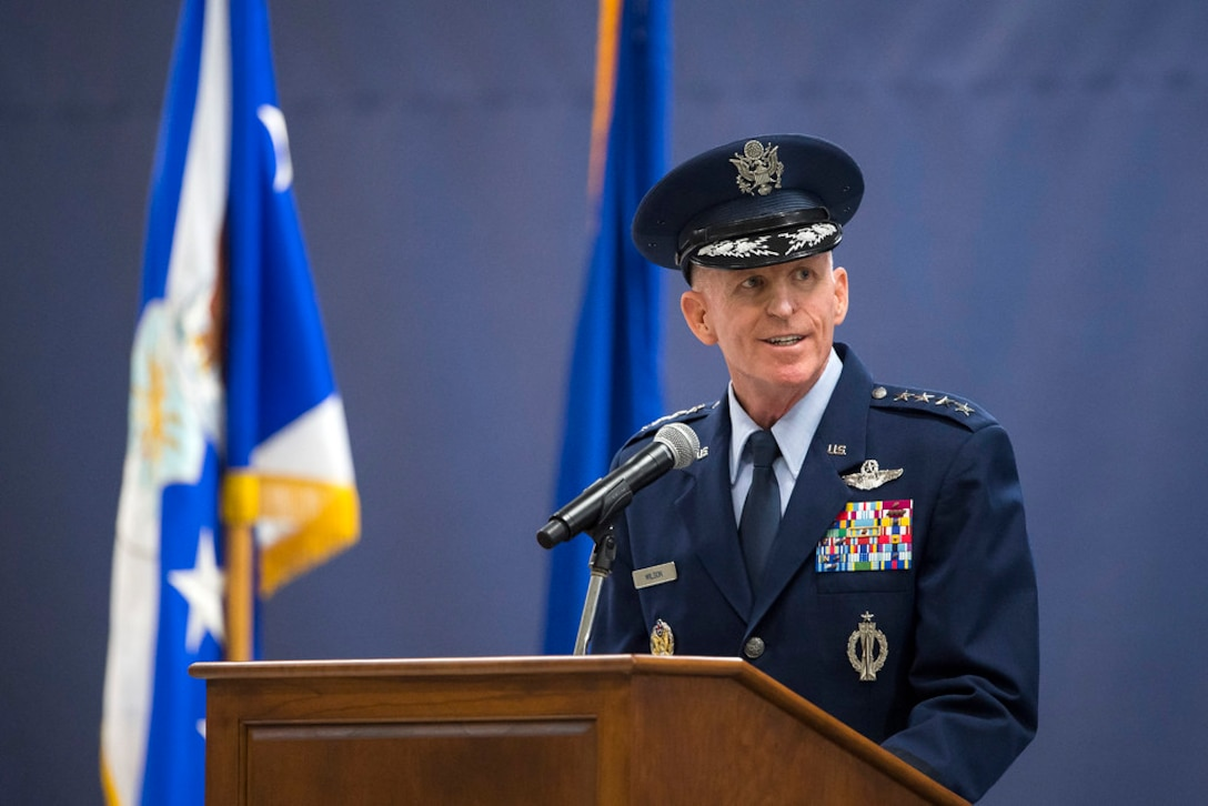 Air Force Vice Chief of Staff Gen. Stephen W. Wilson delivers remarks as he presides over the Air Force District of Washington Change of Command Ceremony at Joint Base Andrews, Md., July 9, 2019. (Air Force Photo by Adrian Cadiz)