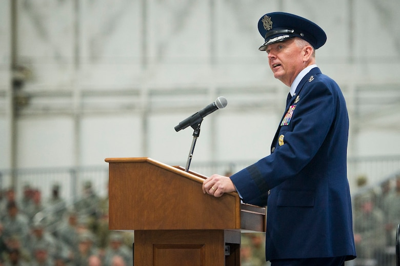 Maj. Gen. Ricky N. Rupp, incoming Air Force District of Washington commander, speaks to guests during the AFDW Change of Command Ceremony at Joint Base Andrews, Md., July 9, 2019. (U.S. Air Force photo by Master Sgt. Michael B. Keller)