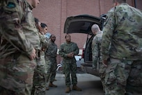 190711-N-OE749-0030 JOINT BASE LANGLEY-EUSTIS, Va. (July 11, 2019) Navy Information Systems Technician 1st Class Albert Givens, assigned to the communications department at Joint Task Force Civil Support, gives a tour of the command and control vehicle as part of the annual JTF-CS Defense Chemical, Biological, Radiological, Nuclear Response Force (DCRF) Communications Workshop. The two-day course is geared toward enhancing DCRF operations by providing vital training and face-to-face interaction between current and follow-on DCRF units. (U.S. Navy photo by Chief Mass Communication Specialist Barry A. Riley/RELEASED)