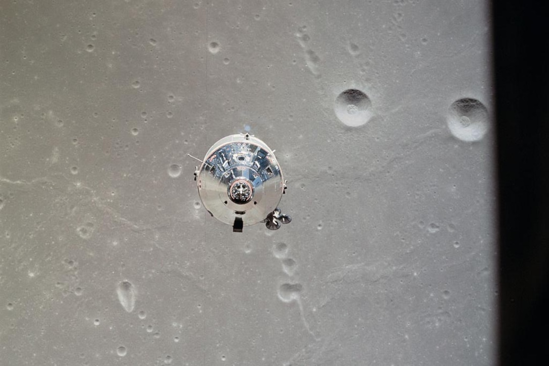 Rocket floats above moon