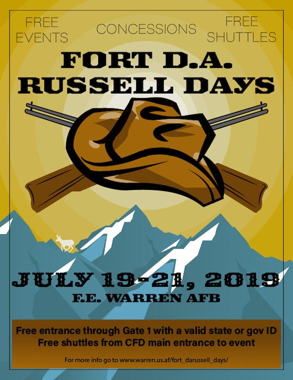 The Fort D.A. Russell Days graphic was created July 11, 2019, at F.E. Warren Air Force Base, Wyo., in order to inform the public of the annual open house. Fort D.A. Russell Days is held every year in conjunction with Cheyenne Frontier Days, the worlds largest outdoor rodeo . (U.S. Air Force graphic by Senior Airman Abbigayle Williams)