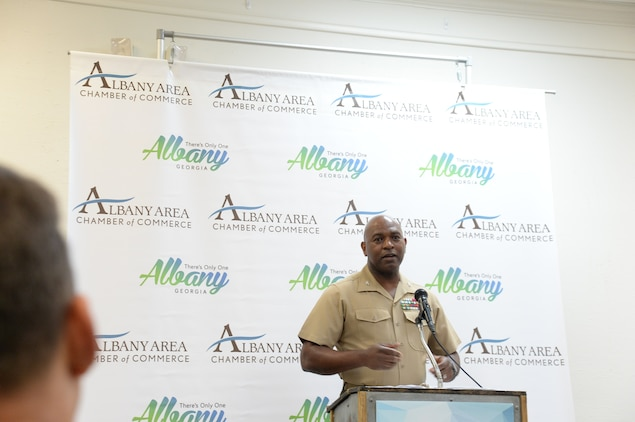 A near-capacity crowd of community and business leaders gathered at the Merry Acres Event Center in Albany, Georgia, July 10, to show their appreciation for those who currently serve in the military at Marine Corps Logistics Base Albany.