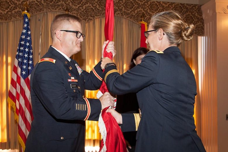 Col. James Handura accepts command of the U.S. Army Corps of Engineers Sacramento District during a July 11, 2019, ceremony at the Masonic Temple in downtown Sacramento, Calif. Brig. Gen. Kim Colloton, South Pacific Division commander, presided over the ceremony where Handura became the district's 33rd commander in its 90-year history.